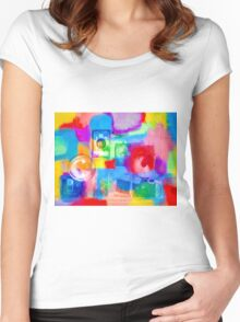 Old Camera Abstract Women's Fitted Scoop T-Shirt