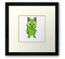 Anime cate pose - green Framed Print