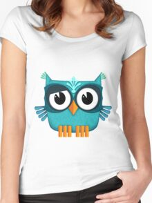 Cute Owl emerald Women's Fitted Scoop T-Shirt