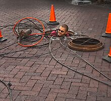 Man in manhole by awefaul