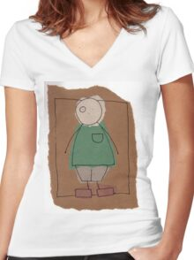 Brown paper boy Women's Fitted V-Neck T-Shirt