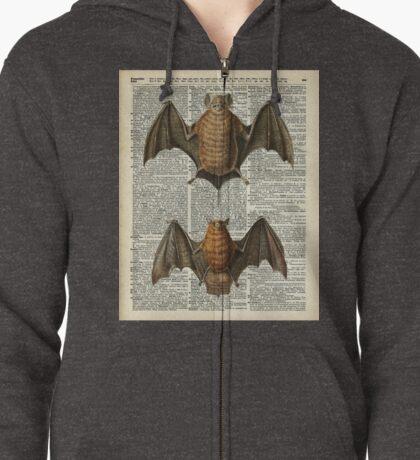 Bat Anatomy Illustration Over Vintage Encyclopedia Page Zipped Hoodie