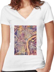 Philadelphia Pennsylvania City Street Map Women's Fitted V-Neck T-Shirt