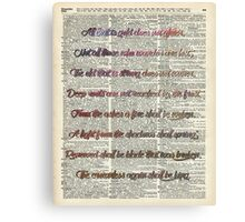 """All that is gold.."" Bilbo Baggins Quote Vintage Dictionary Book Page Art Canvas Print"
