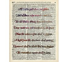 Bilbo Baggins Quote Over Old Book Page Photographic Print