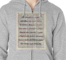 """All that is gold.."" Bilbo Baggins Quote Vintage Dictionary Book Page Art Zipped Hoodie"
