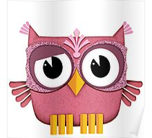Cute Owl pink Poster