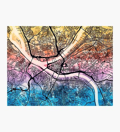 Pittsburgh Pennsylvania Street Map Photographic Print