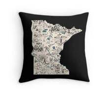 Minnesota Vintage Picture Map Throw Pillow