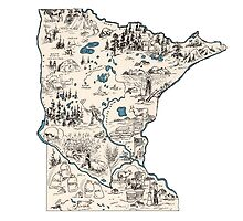 Minnesota Vintage Picture Map by surgedesigns