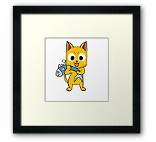 Anime cat and fish - yellow Framed Print