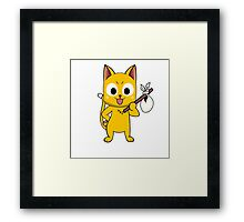 Anime cat and pack - yellow Framed Print