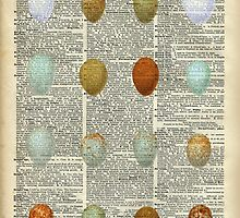 Colourful Eggs Vintage Collage Easter Gift by DictionaryArt