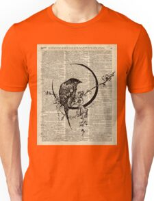 Goth Raven Pen&Ink Illustration,Vintage Dictionary Art Unisex T-Shirt