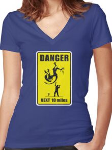 DANGER! Complicated Death Ahead Women's Fitted V-Neck T-Shirt