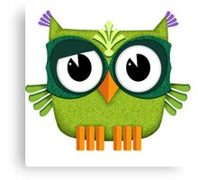 Cute Owl green Canvas Print