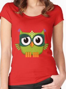 Cute Owl green Women's Fitted Scoop T-Shirt