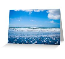 Ocean waves and blue sky with clouds Greeting Card