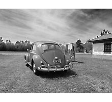 1960 VW Volkswagen Beetle at Old Gas Pumps Photographic Print