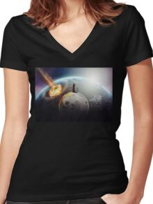 Cat Victory Women's Fitted V-Neck T-Shirt