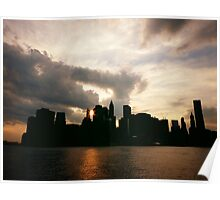 New York City Skyline in Silhouette at Sunset Poster