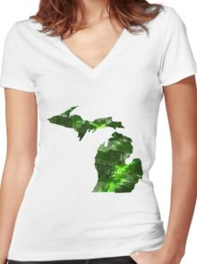 MS watercolor 2 Women's Fitted V-Neck T-Shirt