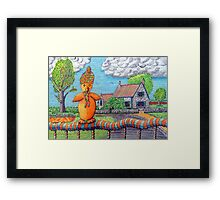 340 - SITTING ON THE FENCE - DAVE EDWARDS - COLOURED PENCILS - 2011 Framed Print