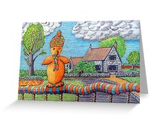 340 - SITTING ON THE FENCE - DAVE EDWARDS - COLOURED PENCILS - 2011 Greeting Card