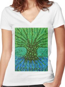 Green Tree Women's Fitted V-Neck T-Shirt