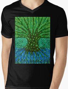 Green Tree Mens V-Neck T-Shirt