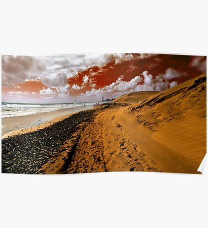 Red sky on the beach Poster