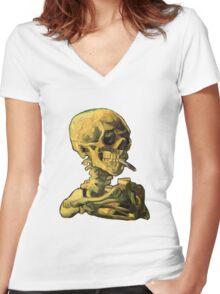 "Vincent Van Gogh - ""Skull of a Skeleton with Burning Cigarette"" Women's Fitted V-Neck T-Shirt"