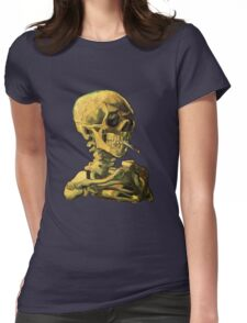 """Vincent Van Gogh - """"Skull of a Skeleton with Burning Cigarette"""" Womens Fitted T-Shirt"""