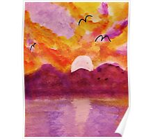Sunset over west Coast, watercolor Poster