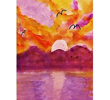 Sunset over west Coast, watercolor Photographic Print