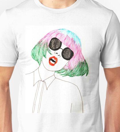 Girl with Multicoloured Hair Unisex T-Shirt