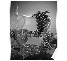 Pottery, Grapes and Wine (Black and White) Poster