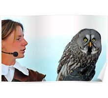 Falconer and Great Grey Owl Poster