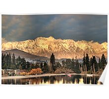 Remarkable Gold - The Remarkables near Sunset Poster