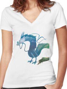 Haku Spirited Away Women's Fitted V-Neck T-Shirt