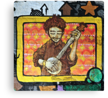 Graffiti art, Glasgow; man strumming mandolin Canvas Print