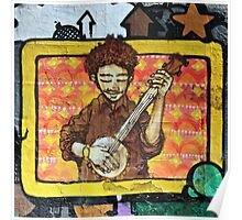 Graffiti art, Glasgow; man strumming mandolin Poster