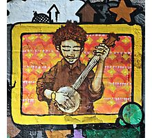 Graffiti art, Glasgow; man strumming mandolin Photographic Print