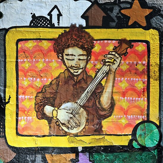 Graffiti art, Glasgow; man strumming mandolin by James1980