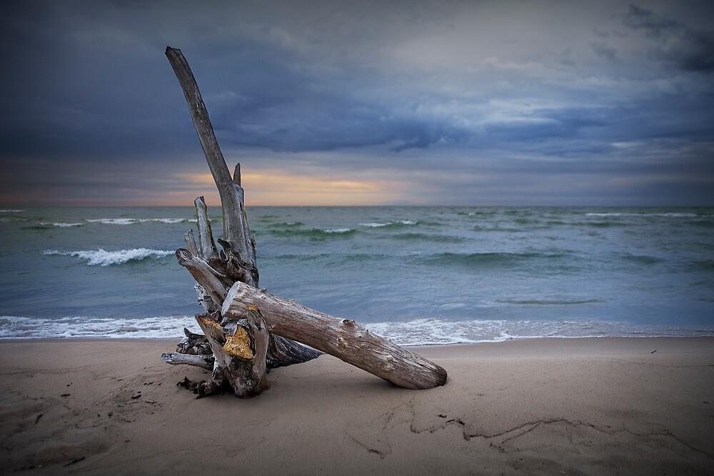 Sunrise on the beach at Oscoda Michigan on Lake Huron by Randall Nyhof