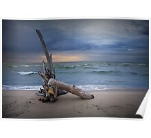 Sunrise on the beach at Oscoda Michigan on Lake Huron Poster