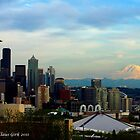 Seattle skyline at sunset by Klaus Girk
