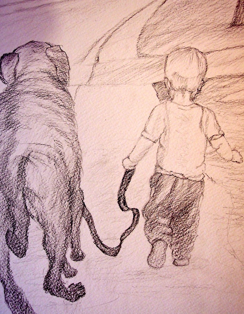 Walking the dog by Andreia Medlin