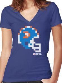 Tecmo Bowl - Denver - 8-bit - Mini Helmet shirt Women's Fitted V-Neck T-Shirt