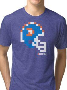 Tecmo Bowl - Denver Broncos - 8-bit - Mini Helmet shirt Tri-blend T-Shirt